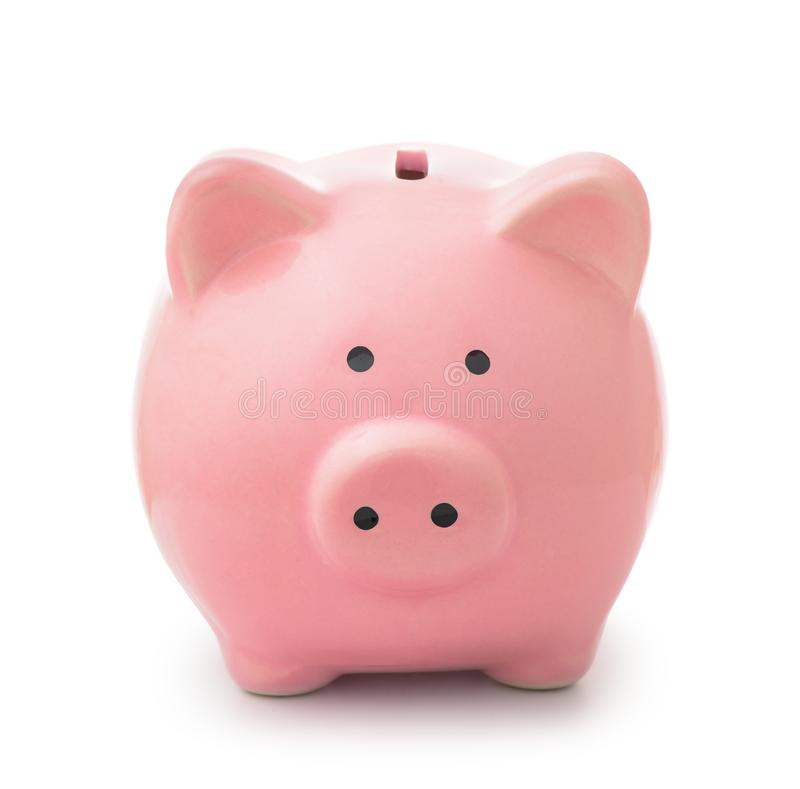 Front view of piggy bank stock images