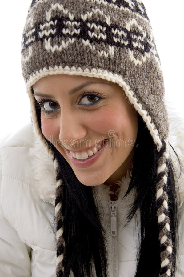 Front View Of Pleased Female With Woolen Cap Stock Photography