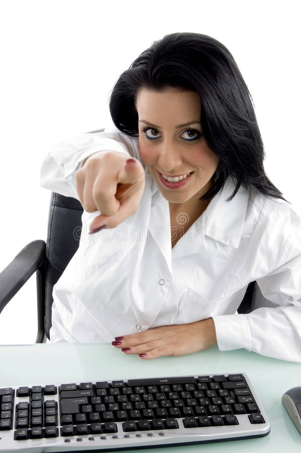 Download Front View Of Pointing Female Doctor Stock Image - Image: 7364541