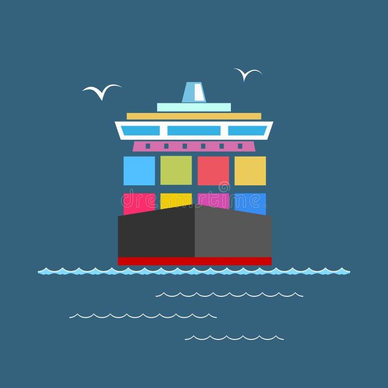 Front View portacontenedores en el mar stock de ilustración