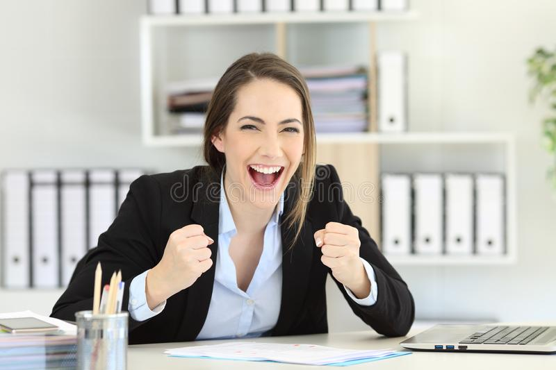 Excited executive looking at camera at office stock images