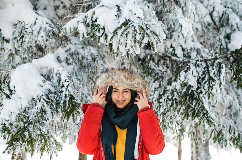 A front view portrait of young woman standing outdoors in snowy winter forest. royalty free stock images
