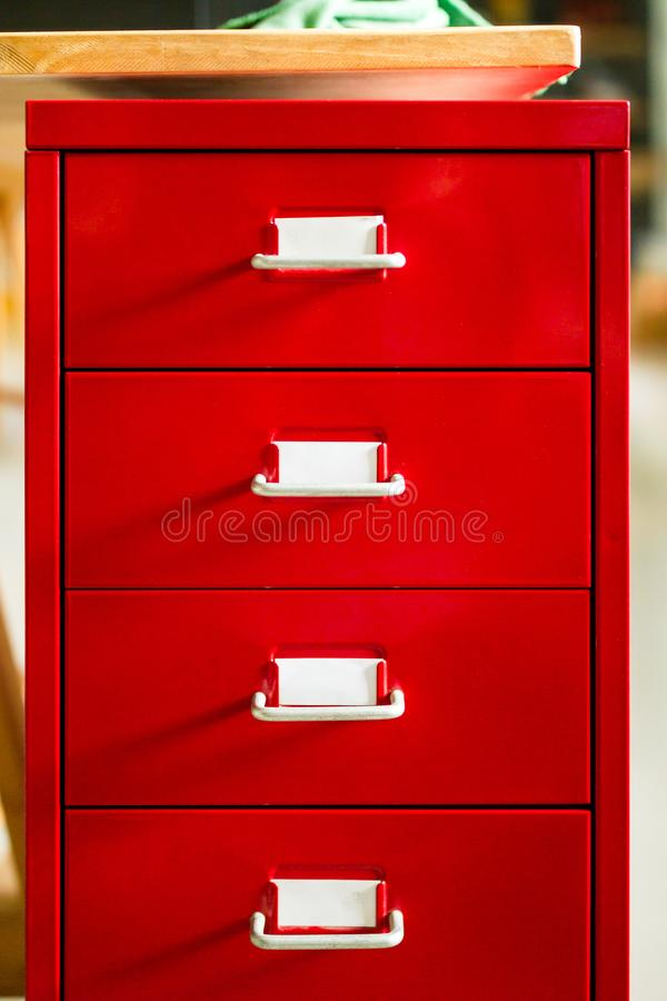 The front view of the red document drawer is closed. royalty free stock image