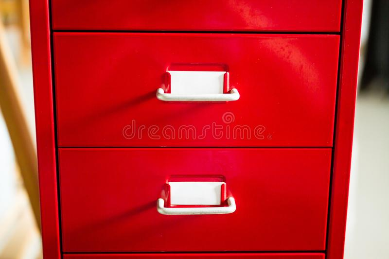 The front view of the red document drawer is closed. royalty free stock photography