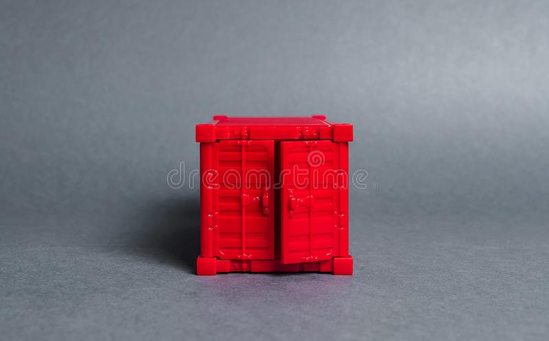 Front view red freight container. The concept of import of goods, transport services and nodes. Cargo transit, products. balance. Powerful economy royalty free stock photos