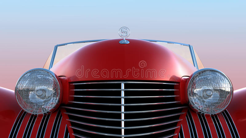 Download Front View Of Red Retro Car Stock Illustration - Image: 15778227