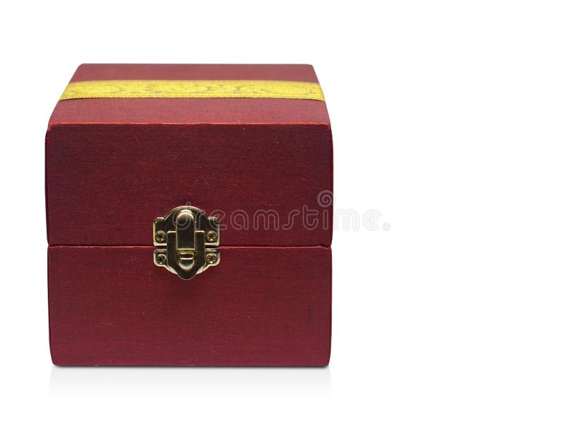 Front view Red and yellow fabric box on white background, object,modern,copy space. Front view Red and yellow fabric box on white background, object,modern royalty free stock photography