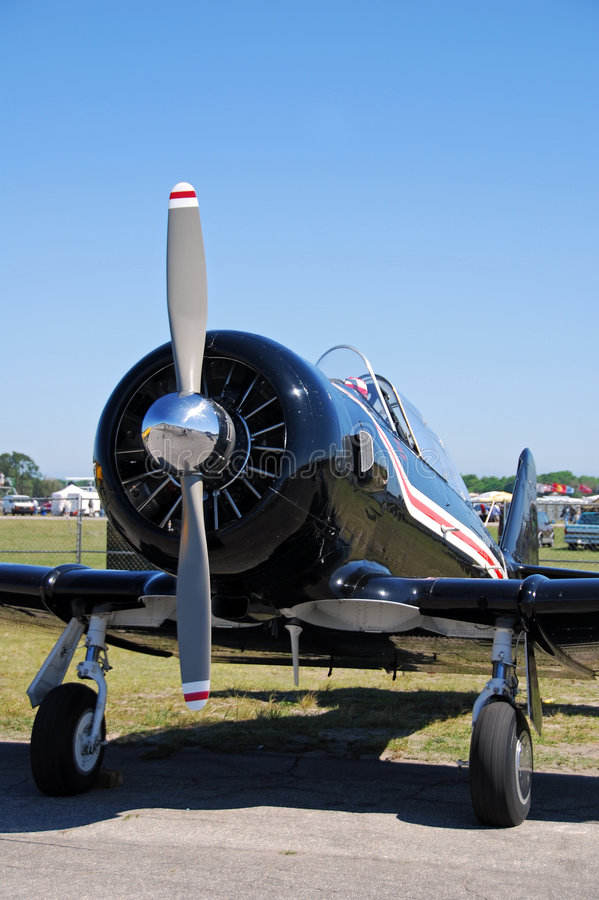 Front view of retro airplane royalty free stock image