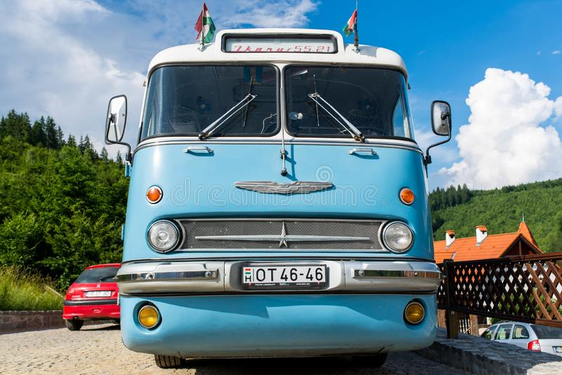 Front view of a  retro Hungarian Ikarus 55 , fabricated in  1955 . royalty free stock photography