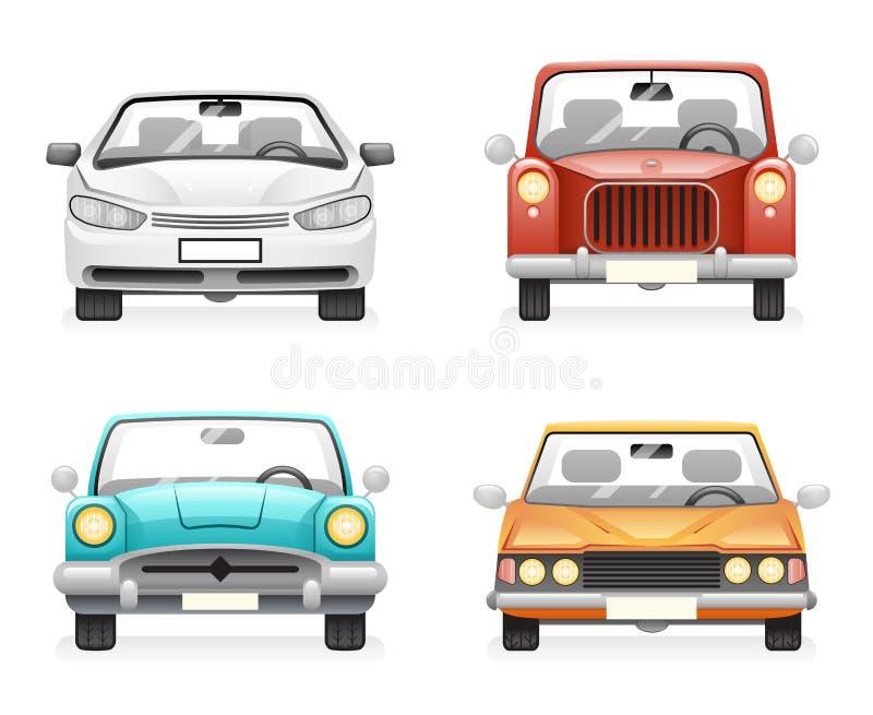 Front View Retro Modern Car-Pictogrammen Geplaatst de Geïsoleerde Symbolen van Clipart van het Ontwerpvervoer Vectorillustratie stock illustratie