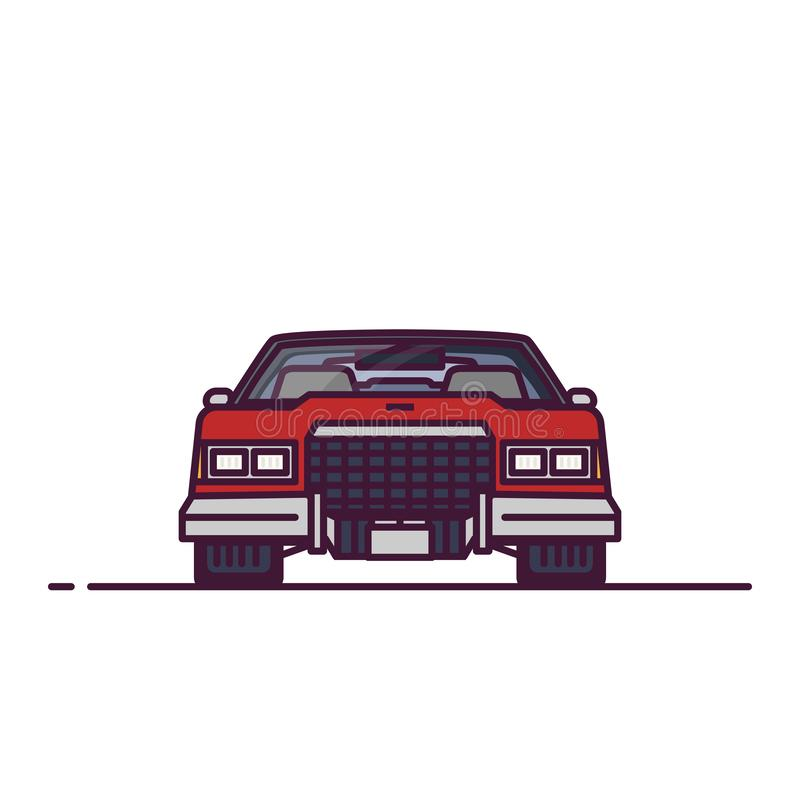 Front view of retro 70s car. Front view of retro luxury car from 70s. Line style vector illustration. Classic luxury retro vehicle banner. Large sedan from front stock illustration