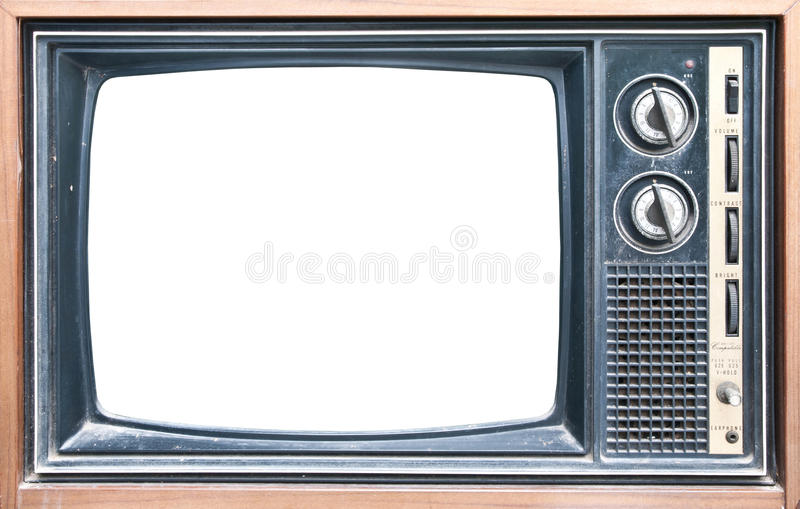 Front view of retro TV. Old grungy Vintage TV with a white screen stock image