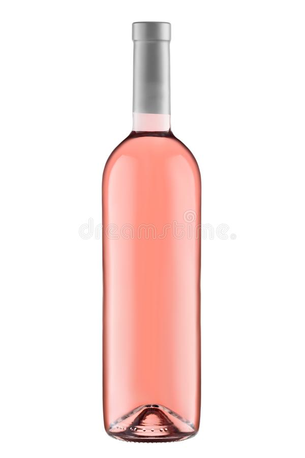 Front view rose wine blank bottle isolated on white background stock photography