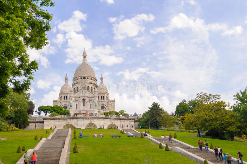 Front view of Sacre Coeur Cathedral royalty free stock photography