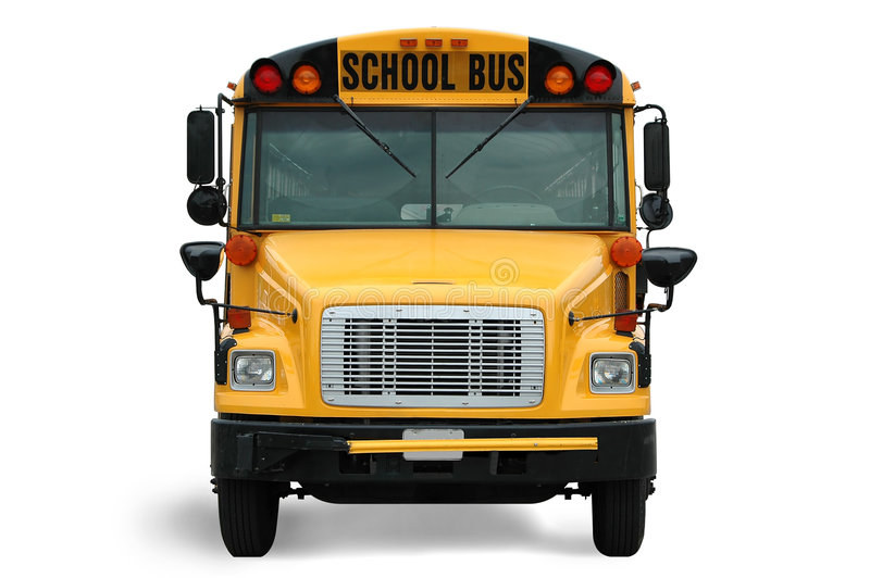Front view of school bus royalty free stock photography