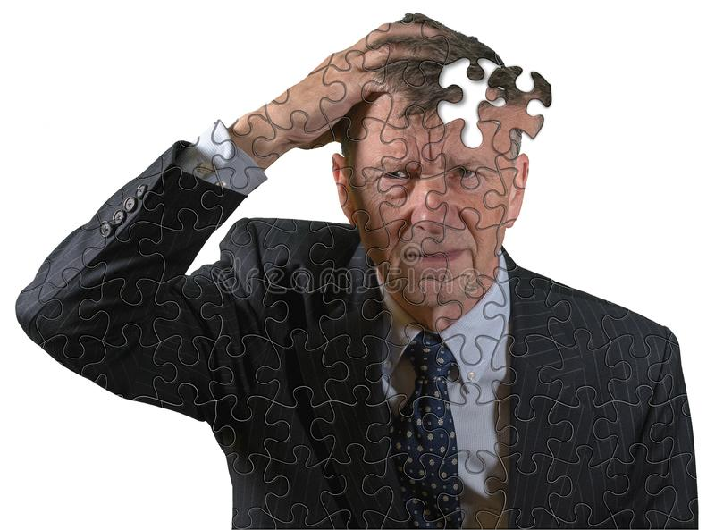 Front view of senior caucasian man worried about memory loss and dementia. Front view and face of senior caucasian man afraid of dementia and Alzheimer`s disease royalty free stock photography