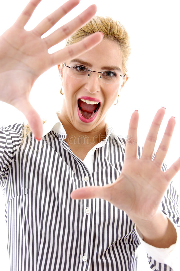 Front View Of Shouting Businesswoman Royalty Free Stock Photography