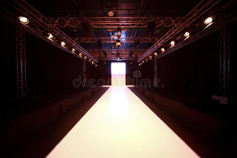 Front view on show podium. Before beginning of fashionable display royalty free stock images