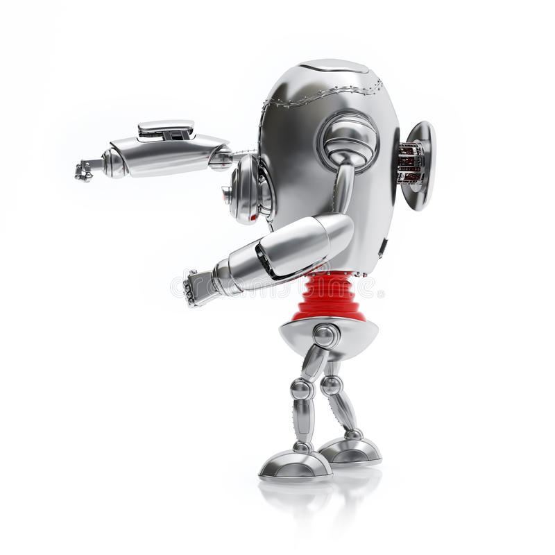 Front View Silver Robot Isolated sur le fond blanc illustration stock