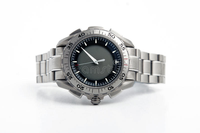 Front view of silver watch stock photo