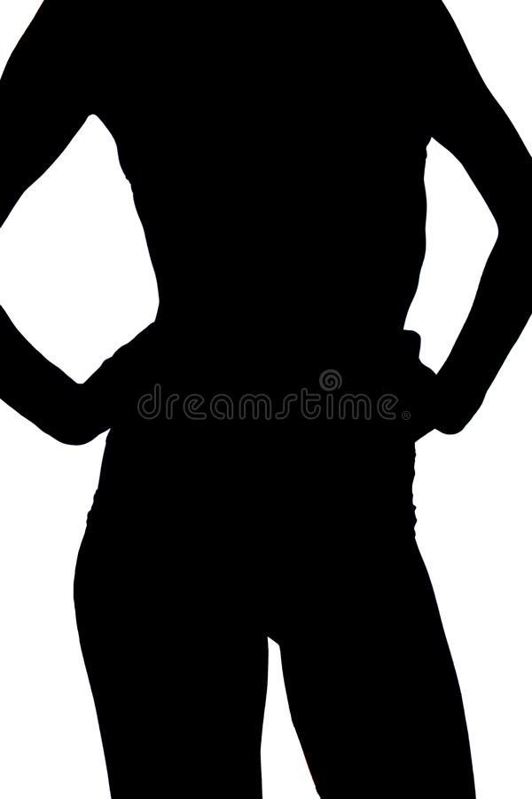 Front view. slim young sporty girl in black lingerie shows her figure,sporty belly on light isolated background stock illustration
