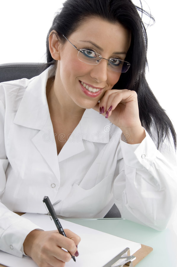 Front view of smiling doctor looking at camera stock photography