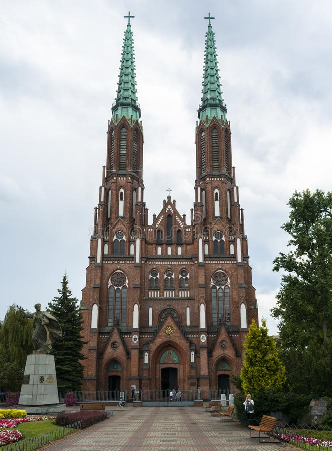 Front view of St. Florian& x27;s Cathedral in Warsaw, Poland royalty free stock image