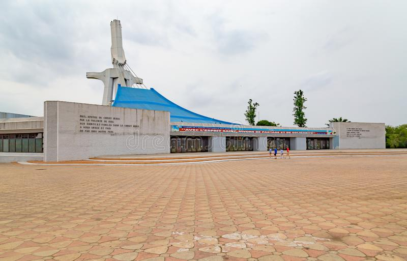 The front view of St. Paul`s Catholic Cathedral Abidjan Ivory Coast. stock images