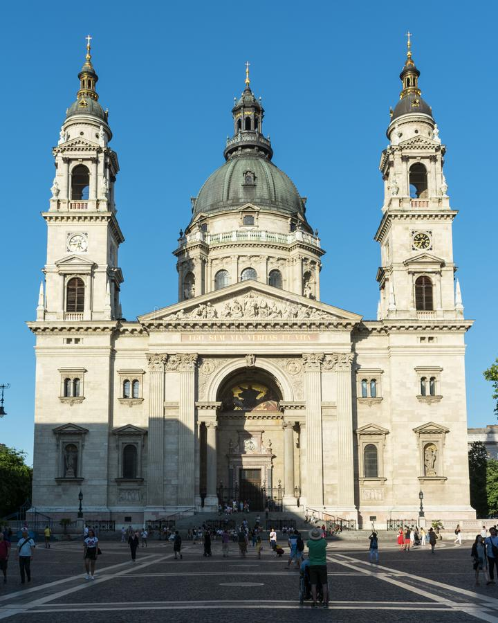Front view of St. Stephen Basilica in Budapest royalty free stock images