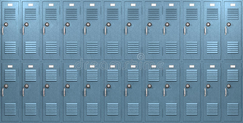 Blue School Lockers Front Stock Illustration Illustration