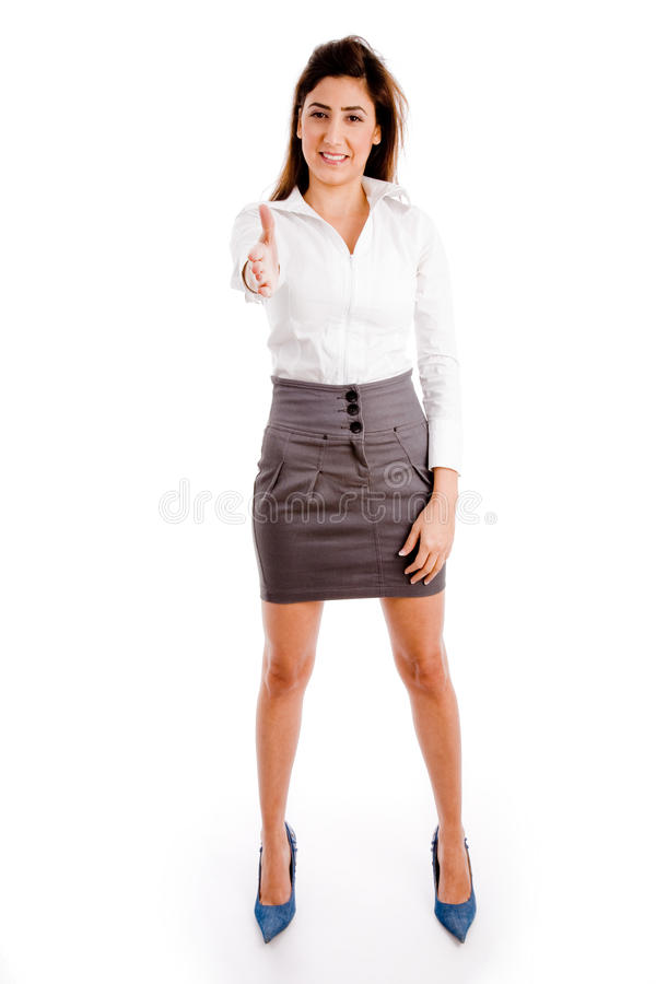 Download Front View Of Standing Female Offering Handshake Stock Image - Image: 10396389