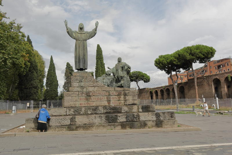 Front view Statue of St Francis of Assisi in Rome stock photos