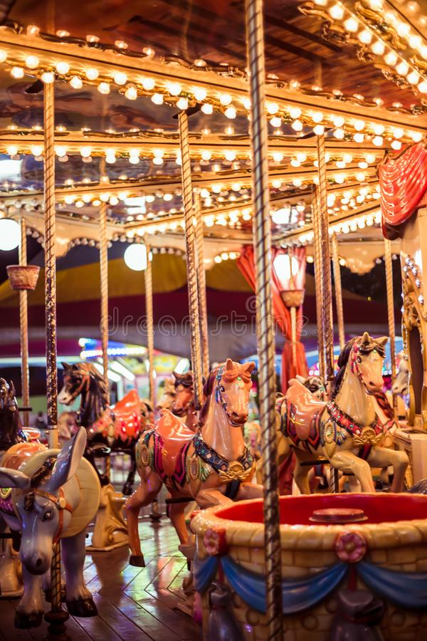 View from a carousel at night stock photo