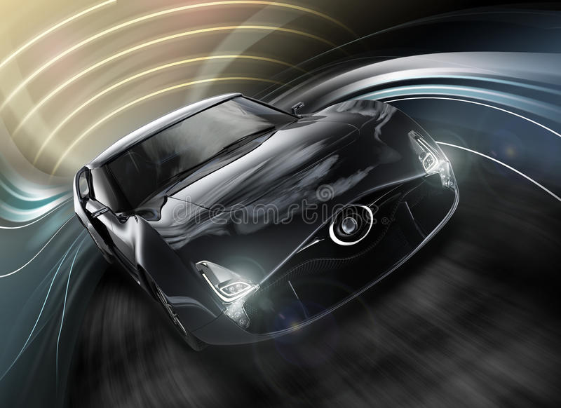 Front view of stylish black sports car. With dynamic graphic background. 3D rendering image in original design vector illustration
