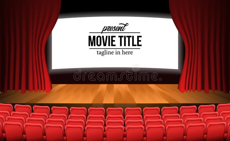 Front view theater movie stage with red curtain and wood floor and empty red seats vector illustration