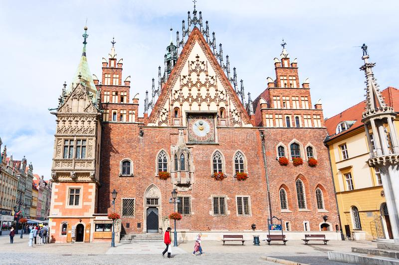 Front view of Town Hall on Market Square, Wroclaw stock photography