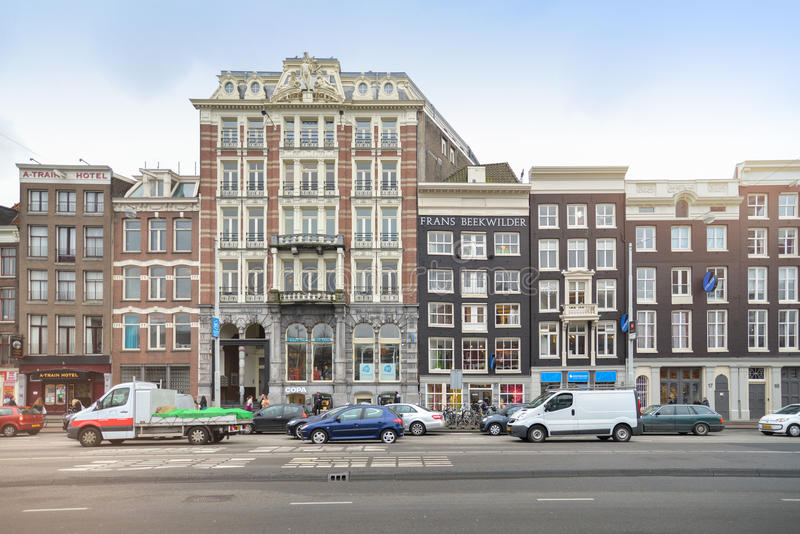 Front view of traditional buildings in amsterdam editorial for Exterior view of building