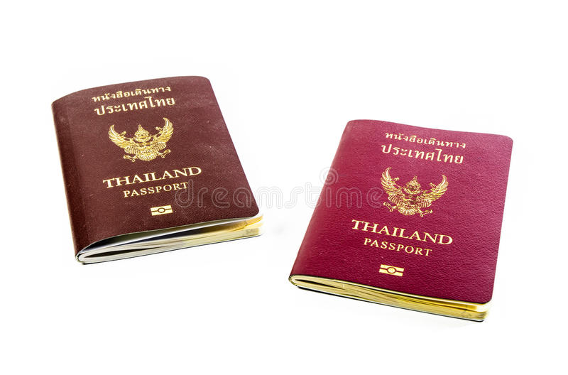 Front view two old passport book of thailand. Isolated on white backgrounds royalty free stock image