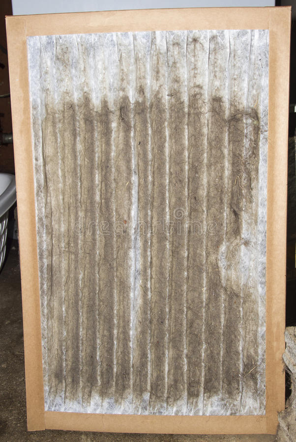 Front View Of un filtro sucio del horno foto de archivo libre de regalías