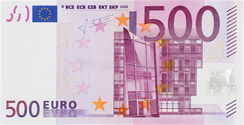 Front View Of uns 500 Euros Bill foto de stock