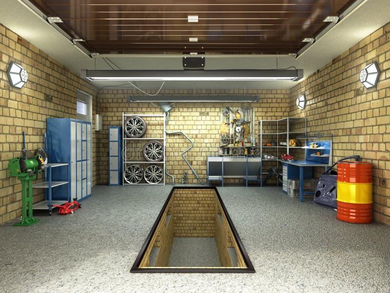 Front View van een Garage 3D Binnenland met Geopende Roldeur 3D aangaande royalty-vrije illustratie