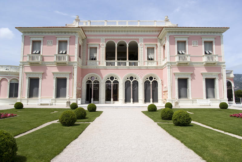 Front view of the Villa Ephrussi de Rothschild. Villa Ephrussi de Rothschild is a French seaside villa located at Saint-Jean-Cap-Ferrat on the French Riviera stock photography
