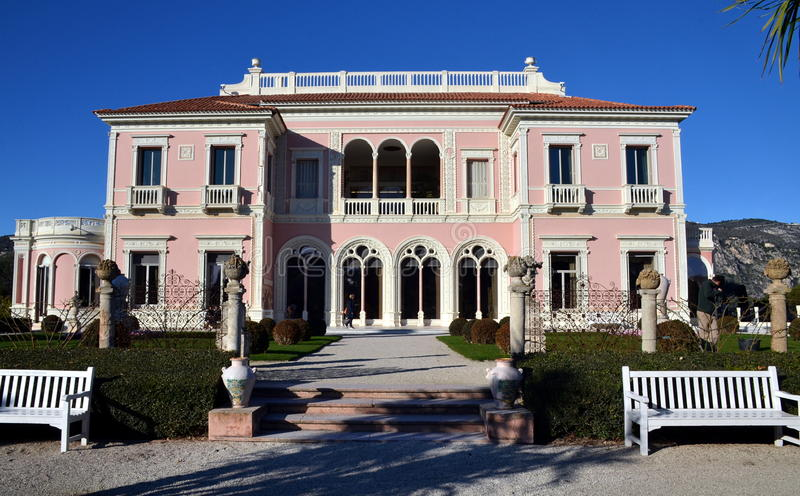 Front view on villa Rothschild, France. Front view on villa Rothschild, Cap Ferrat, French Riviera, France stock photo