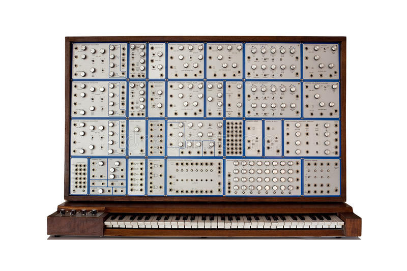 Front view of vintage analog modular synthesizer. Front view of a vintage analog modular synthesizer - lots of knobs and switches royalty free stock photo
