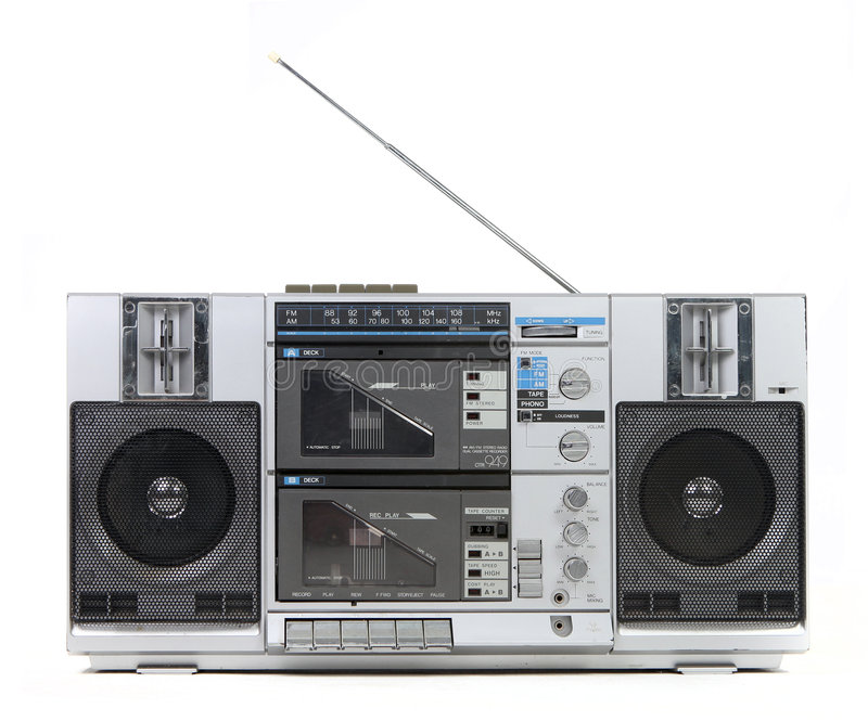 Download Front View Of A Vintage Boom Box Cassette Tape Pla Stock Image - Image: 9211457