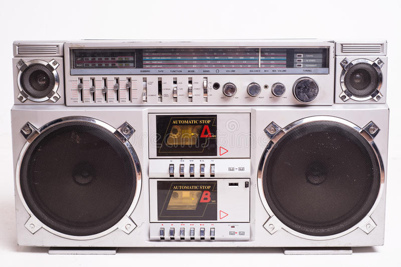 Front View of a Vintage Boom Box Cassette Tape Player Isolated on White Background royalty free stock images