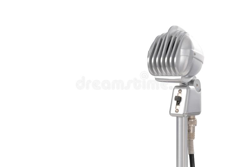 Front view of a vintage 1950`s dynamic microphone stock images