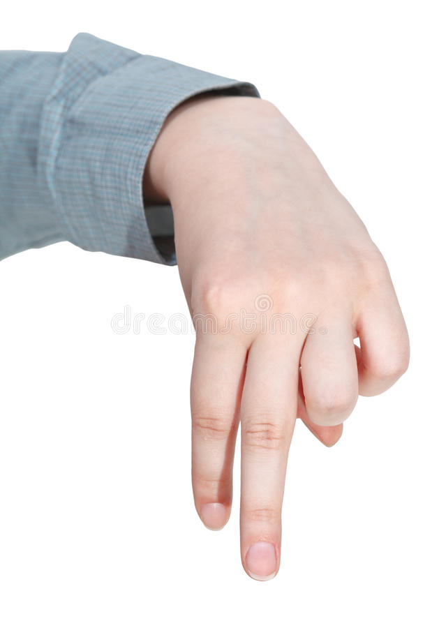 Front view of walking finger man - hand gesture royalty free stock photos