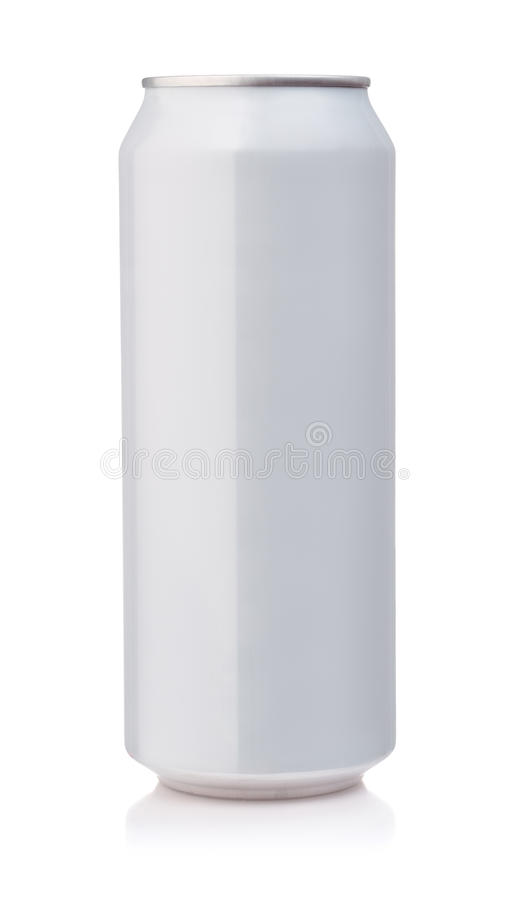 Front view of white aluminum can stock image
