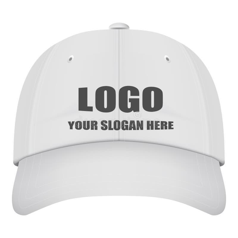 Front View White Baseball Cap realístico com Logo Isolated On um fundo branco Ilustração do vetor ilustração do vetor